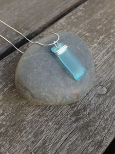 Wirewrapped glass pendant made from reclaimed Bombay Sapphire gin bottle by ArchetypeStudio, $30.00