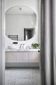 Interior design is an art form & this home captures it perfectly. The use of natural light along side the interior design elements are magical. House Bathroom, Bathroom Inspiration, Bathrooms Remodel, Laundry In Bathroom, Bathroom Interior Design, Bathroom Decor, Bathroom Design, Tile Bathroom, Bathroom Mirror