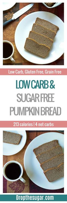 A deliciously moist gluten free, grain free, low carb and sugar free pumpkin bread to surprise your friends and family with. Low Carb Sweets, Low Carb Desserts, Low Carb Recipes, Pasta Recipes, Healthy Recipes, Atkins Recipes, Diabetic Recipes, Bread Recipes, Sugar Free Desserts