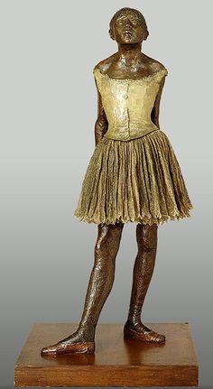A pequena dançarina de quatorze anos [modelado em 1879-80; fundido em 1922] Edgar Degas (França, 1834-1917) Técnica mista: bronze, parcialmente policromado, saia de algodão, fita no cabelo de cetim, sobre base de madeira.  104 cm de altura The Metropolitan Museum, Nova York