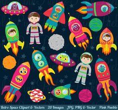 Space Astronaut Clipart Clip Art Retro Rocketship by PinkPueblo, $6.00