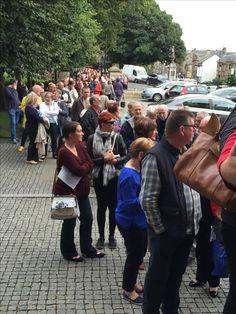 Line to enter Albert Halls to see Ian Rankin & Quintin Jardine. Bloody Scotland 2016