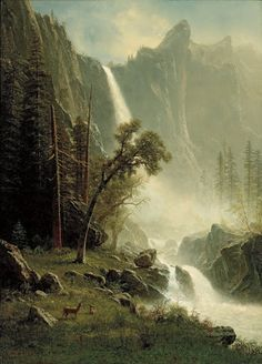 Albert Bierstadt Bridal Veil Falls Yosemite painting is shipped worldwide,including stretched canvas and framed art.This Albert Bierstadt Bridal Veil Falls Yosemite painting is available at custom size. Landscape Art, Landscape Paintings, Oil Paintings, Albert Bierstadt Paintings, Art Romantique, Hudson River School, Yosemite Falls, Photos Voyages, Oil Painting Reproductions