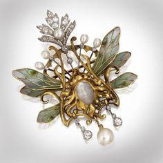An Art Nouveau gold, plique-à-jour enamel, carved moonstone, pearl and diamond pendant-brooch, Louis Aucoc, Paris, circa 1900. — with Ayelet LeSly.
