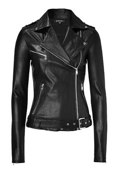 Black Leather Biker Jacket      The ultimate investment piece, this Jitrois leather biker-styled jacket will amp up your day or night style and will last for many years to come  Motorcycle styling, spread collar with snap details, asymmetrical front zip, epaulets, front zip pockets, belted waist, back zip panels, zip-detailed cuffs, slim fit  Pair with a jeans-and-tee ensemble or with a maxi dress and platforms for a downtown-ready evening look