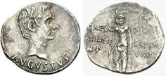 Silver coin of Emperor Augustus. He reigned in 27 BC - AD 14.
