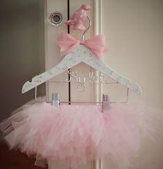 Tutu Tutu Hanger Childrens Hanger Flower Girl Gift by GetHungUp Ballerina Party, Little Ballerina, Flower Girl Gifts, Baby Girl Gifts, Homemade Tutu, Childrens Hangers, Baby Hangers, Ribbon Colors, Trendy Baby