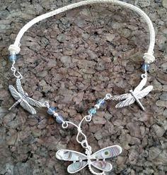Abalone dragonfly viking knit necklace