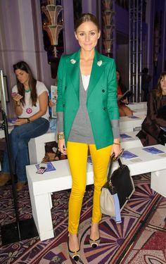Olivia Palermo. Bright Kelly green jacket.