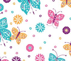 Sugar n Spice Butterflies Pattern - © Lucinda Wei fabric by simboko on Spoonflower - custom fabric (Would need to have aspect ratio changed)