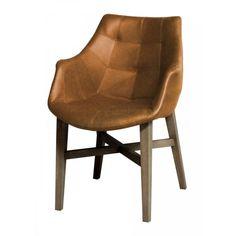 24Designs Stoel Arizona Armleuningen - Eiken poot - Cognac vintage kunstleer