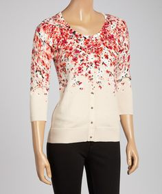 Another great find on #zulily! Orange Floral Three-Quarter Sleeve Cardigan by Colour Works #zulilyfinds