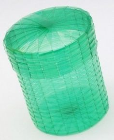 Baskets with strips of plastic bottles