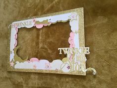 All pink twinkle twinkle little star photo frame for gender reveal or Birthday. 40.00. More @Go_Make_something on Instagram.❤️