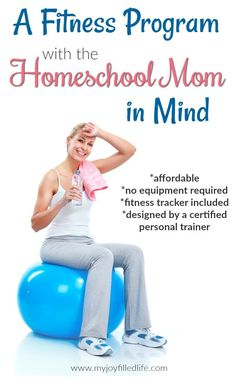 A Fitness Program with the Homeschool Mom in Mind - affordable, no equipment required, fitness tracker included, designed by a certified personal trainer Mens Fitness, Yoga Fitness, Fitness Tips, Fitness Motivation, Health Fitness, Fitness Gear, Women's Health, Cardio Workout At Home, Fun Workouts