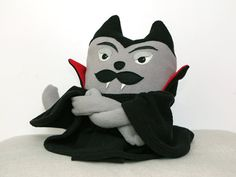 Soft toy Vampire Cat Count CatulaCat Plush Stuffed by ecotule