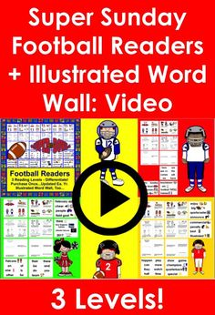 Video Preview of Super Bowl Sunday Readers + Illustrated Word Wall - 3 Levels
