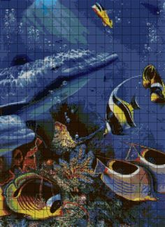 ru / Фото - 2 - -- visit site for 18 pins Cross Stitch Sea, 5d Diamond Painting, Dolphins, Mammals, Needlework, Ocean, Embroidery, Fish, Minecraft