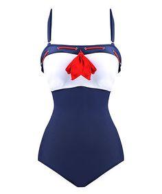 Navy Sailor Vintage One Piece Swimsuit #zulily #zulilyfinds