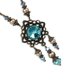 A personal favorite from my Etsy shop https://www.etsy.com/listing/240305003/swarovski-light-turquoise-crystal-and