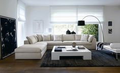 Living room corner sofa set coffee table neutral color palette