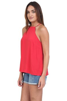 Red High Neck Tank