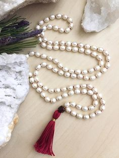 Freshwater Pearl Mala 108 beads Handknotted with Tiger eye and Red Tassel Mala Necklace Boho Meditation Yoga jewelry