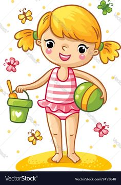 A cute little girl playing in the sand. Girl standing in a swimsuit with a bucket, shovel, and the ball, and around fly the multicolored butterflies. Vector illustration of a summer theme. Download a Free Preview or High Quality Adobe Illustrator Ai, EPS, PDF and High Resolution JPEG versions.