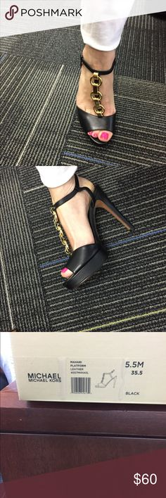 Michael Kors Heels MK MAHARI platform leather heels with gold chain. Size 5.5 barely worn once. Like new - In box Michael Kors Shoes Heels