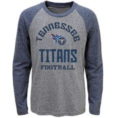 9a3a265b1 Youth Tennessee Titans Gridiron Raglan Long Sleeve T-Shirt (Grey Navy)