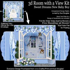 3d Room with a View Sweet Dreams New Baby Boy on Craftsuprint designed by Sue Douglas - This is a stunning card kit from my 3d Room with a View collection, which is very easy to make. This is a really pretty design, for a new baby boy! It features a Nursery, decorated with pale blue wallpaper and carpeted floor complete with pale blue oval rug with the word BABY on it. There is the new baby boy asleep in his cot and a shelving unit filled with cuddly toys and a train. This is sure to be a…