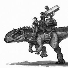 "1,720 Likes, 18 Comments - Shaun Keenan (@shaunmichaelkeenan) on Instagram: ""Bring in the big gun. #oldwestdinosaurs #giganotosaurus #cowboy #cavalry #gatlinggun #dinosaurs…"""