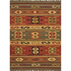 Brick Red and Dark Green Southwestern Flatwoven Kilim Wool Rug | American Home Furniture and Mattress | Albuquerque, Santa Fe, Farmington - NM