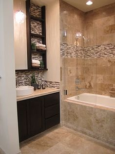 "- Example of Backsplash (same as we use behind Vanities) ""Splash"" DESIGN/CONCEPT in Shower to break-up the Tile"