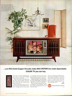 RCA Victor Color TV Everyone gathered to watch Bonanza in color when the first color set was delivered! Color Television, Vintage Television, Retro Advertising, Vintage Advertisements, Tvs, Vintage Appliances, Tv Sets, Vintage Tv, Vintage Posters