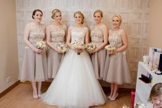 Such a pretty colour choice! Lovely tea length bridesmaid dresses from True Bride #bridesmaiddresses