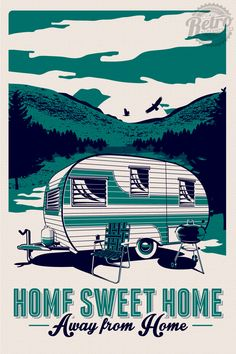 this is original artwork vintage rv retro camping silk screen print poster trailer camper summer hand screen printed 2 color design. Rv Camping, Zelt Camping, Retro Camping, Camping Checklist, Camping Essentials, Family Camping, Camping Hacks, Outdoor Camping, Camping Equipment