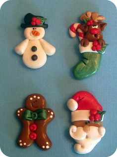Polymer clay holiday christmas hair bow center bead