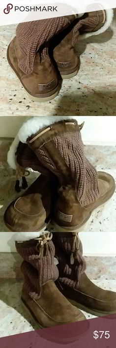 UGG Boots Picture  do not do these any justice A Little Glare .Good condition fluffy, warm ugg boots. Sweater materiel and suede. Ties with tassels. These are not new but they might as well be due not being worn often . My lost your gain UUG Shoes Winter & Rain Boots