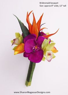 Orange, purple, fuchsia, lime, green, Bird of Paradise, bouquet, Real Touch flowers, tropical, silk, wedding, bridesmaid, maid of honor.  #bouquet #birdofparadise #tropical #wedding #silkflowers #realtouchflowers