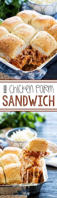 Baked Chicken Parm Sandwiches: The quickest dinner, and a family favorite, crowd-pleasing meal too! These baked chicken parm sandwiches whip up quick and are bursting with flavor!