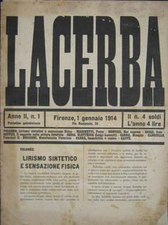 Ardengo Soffici, Lacerba magazine cover (directed by Papini), 1914
