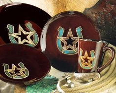 Turquoise Horseshoe \u0026 Star Dinnerware Set - 16 pcs I love this set sooo much : western style dinnerware sets - pezcame.com