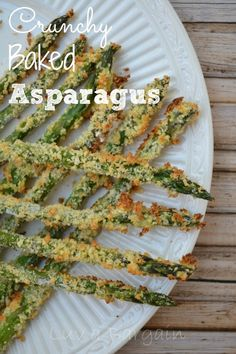 This Crunchy Baked Asparagus is an easy new way to cook and enjoy a healthy favorite. So delicious and it's asked for weekly in my house! Baked Asparagus Asparagus is one of my favorite veggies! Vegetable Side Dishes, Vegetable Recipes, Vegetarian Recipes, Cooking Recipes, Healthy Recipes, Brocolli Recipes, Healthy Dishes, Crockpot Recipes, Baked Asparagus
