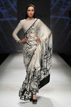 30 Elegant Silk Saree Blouse Designs Collection for 2018 Satin Saree, Silk Sarees, Indian Dresses, Indian Outfits, Indian Clothes, Satya Paul Sarees, Black And White Saree, Black White, Indie Girls