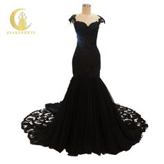 Rhine Real Sample Image Black Lace with Crystal Mermaid Sexy Backless High Quality Gown Party Dresses Evening Dresses