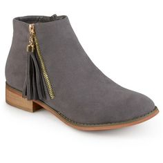 Women's Journee Collection Trista Faux Suede Side Zip Ankle Boots : Target