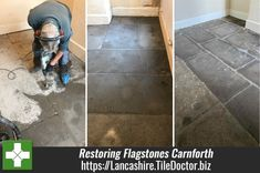 The owner of this Flagstone floor at a property in Carnforth was told by a damp specialist to remove the carpet and underlay and have the floor taken out and skipped. Then to install new hardcore and concrete put in place but with a Damp Proof Membrane installed in between, then once fully cured (four weeks at least) they could have a new carpet, tile or wood floor etc. installed. Lancashire.TileDoctor.biz/renovating-flagstones-covered-in-concrete-screed-and-bitumen-in-carnforth