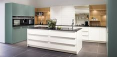Proline Glass Gloss White with Fjord Blue - Snug Kitchens