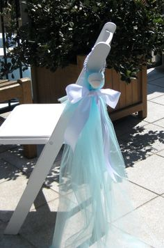 Beach Wedding Decor - Chair Decoration - Choice of Blue, Aqua or White Tulle and Aqua, White or Ivory Ribbon with Scallop Shells